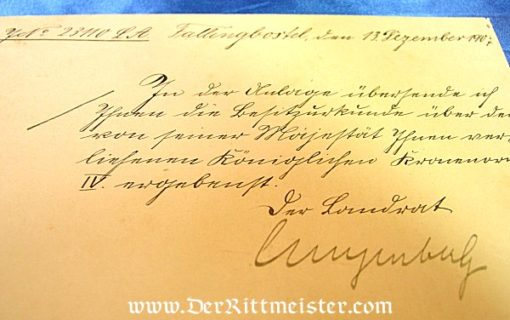 PRUSSIA - RED EAGLE ORDER 4th CLASS AND AWARD DOCUMENTS - Imperial German Military Antiques Sale