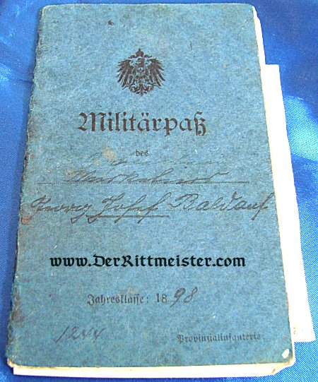 MILITÄRPAß TO A MAN SERVING IN INFANTERIE-REGIMENT Nr 65 - Imperial German Military Antiques Sale