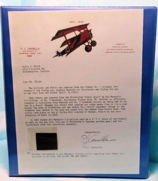 FULLY-AUTHENTICATED FOKKER TRIPLANE FABRIC PIECE FROM MANFRED von RICHTHOFEN'S DEATH FLIGHT - Imperial German Military Antiques Sale