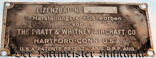 GERMAN AIRPLANE ENGINE IDENTIFICATION PLATE - Imperial German Military Antiques Sale