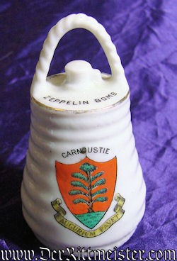 PORCELAIN FIGURINE - BOMB DROPPED FROM ZEPPELIN - Imperial German Military Antiques Sale