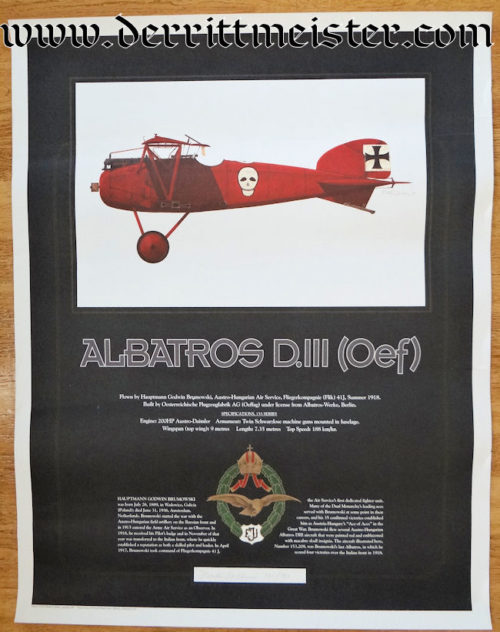 FULL COLOR LIMITED EDITION POSTER: AUSTRIA'S LEADING ACE HAUPTMANN GOODWIN BRUMOWSKI - Imperial German Military Antiques Sale