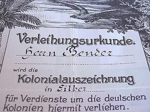 GERMANY COLONIAL – AWARD DOCUMENT –  KOLONIALAUSZEICHNUNG BADGE
