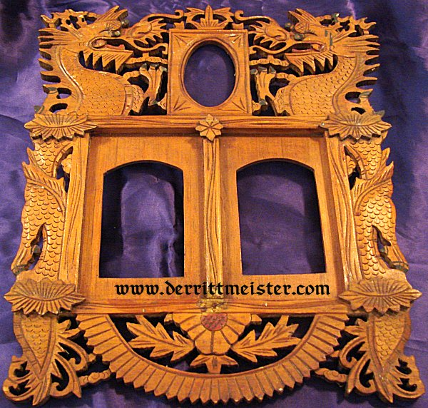 EAST ASIA COLONIAL – WOODEN FRAME  – HAND CARVED  – COMMEMORATING VETERAN'S SERVICE