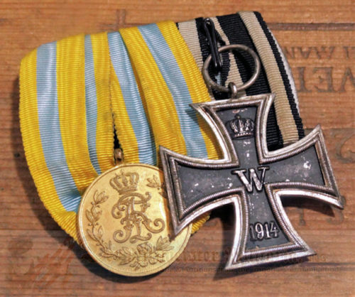 SAXONY - MEDAL BAR - TWO PLACE - Imperial German Military Antiques Sale