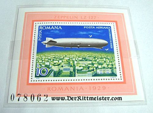 ROMANIA - STAMP - LARGE FORMAT - LZ-127 GRAF ZEPPELIN - OVER ROMANIA'S CAPITAL - Imperial German Military Antiques Sale