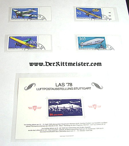 SET - FIVE AVIATION POSTAGE STAMPS - 1978 LUFTPOSTAUSSTELLUNG - STUTTGART - Imperial German Military Antiques Sale