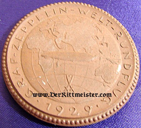 "GERMANY - TABLE MEDAL - MEISSEN - GRAF ZEPPELIN ""AROUND THE WORLD VOYAGE"" - 1929 - Imperial German Military Antiques Sale"