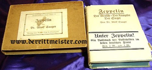 GERMANY - BOOK - ZEPPELIN: DER MENSCH - DER KAMPFER - DER SIEGER by DR. ADOLF SAAGER. GRAF FERDINAND von ZEPPELIN'S BIOGRAPHY IN THE ORIGINAL STORAGE BOX - SIGNED BY DR. HUGO ECKNER - Imperial German Military Antiques Sale