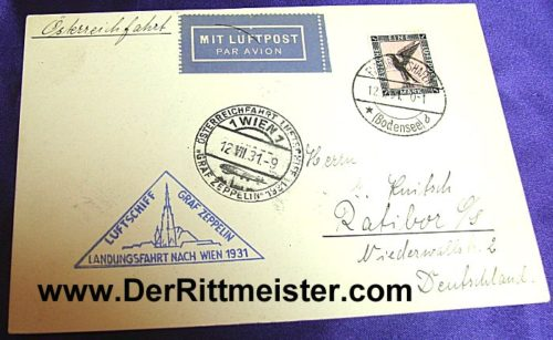 POSTCARD FLOWN - GRAF ZEPPELIN - AUSTRIA - GERMANY - 1931 - Imperial German Military Antiques Sale