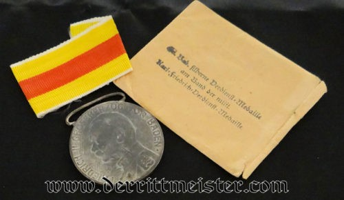 SILVER SERVICE MEDAL WITH AWARD PACKET - BADEN - Imperial German Military Antiques Sale