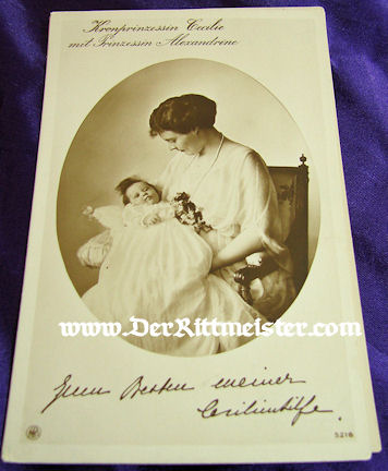 POSTCARD - KRONPRINZESSIN CECILIE - OLDEST DAUGHTER PRINZESSIN ALEXANDRINE - Imperial German Military Antiques Sale