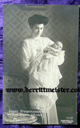 POSTCARD - KRONPRINZESSIN CECILIE & YOUNGEST SON PRINZ FRIEDRICH - Imperial German Military Antiques Sale