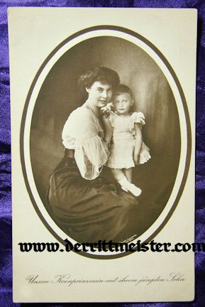 POSTCARD - KRONPRINZESSIN CECILIE & YOUNGEST SON PRINZ WILHELM - Imperial German Military Antiques Sale