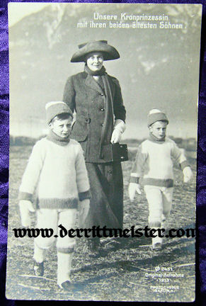 POSTCARD - KRONPRINZESSIN CECILIE & TWO OLDEST SONS - Imperial German Military Antiques Sale