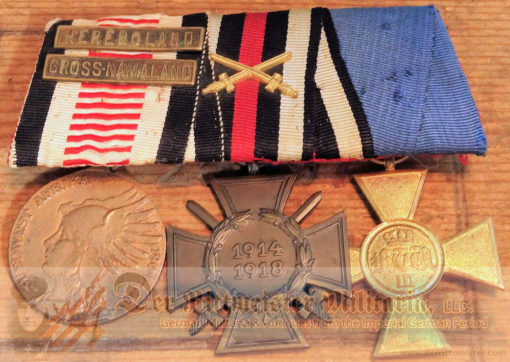GERMANY - MEDAL BAR - THREE PLACE - SOUTHWEST AFRICA - HINDENBURG CROSS - 25 YEARS SERVICE