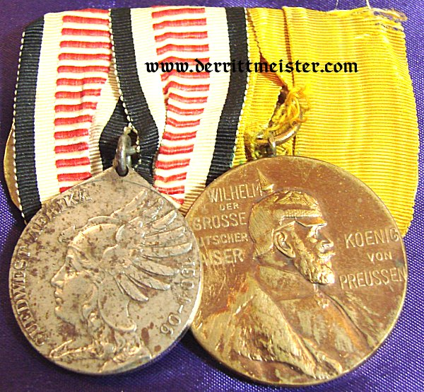 SOUTHWEST AFRICA – MEDAL BAR – TWO PLACE – NON COMBATANTS MEDAL AND KAISER WILHELM I CENTENNIAL MEDAL