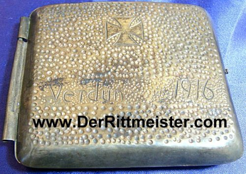 "GERMANY - CIGARETTE CASE - featuring an Iron Cross and ""Verdun 1916 - Imperial German Military Antiques Sale"