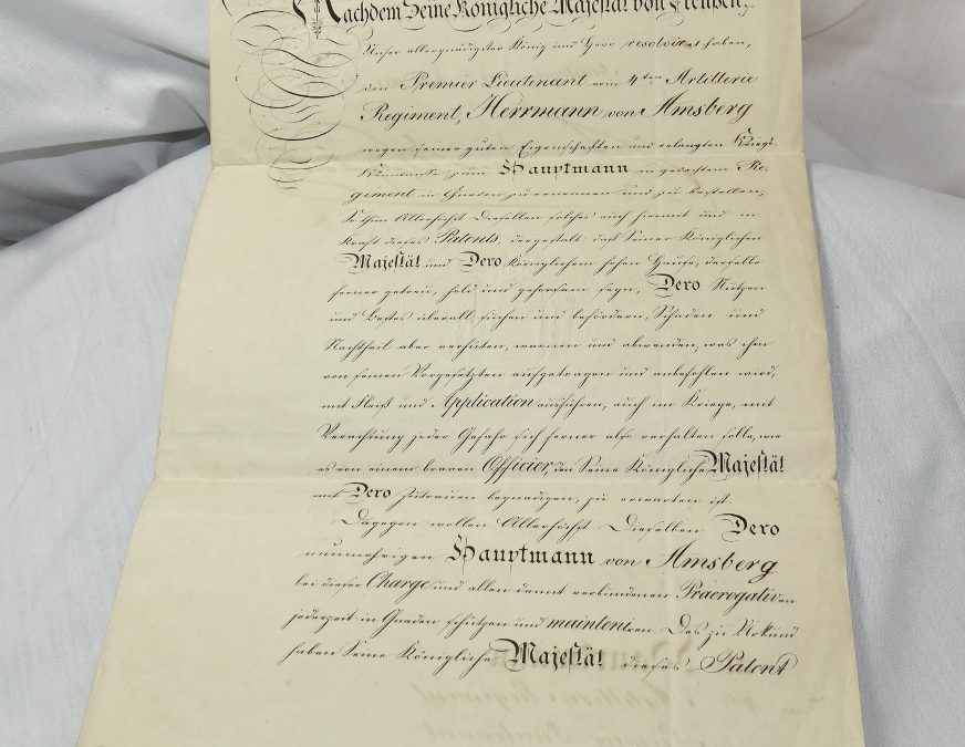 PRUSSIA – PATENT – HAUPTMAN PROMOTION – SIGNED BY PRUSSIA'S KÖNIG FRIEDRICH WILHELM IV