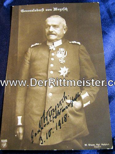 PRUSSIA - AUTOGRAPHED POSTCARD - GENERALOBERST von WOYRSCH - Imperial German Military Antiques Sale
