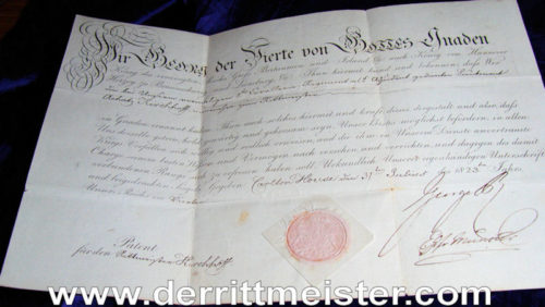 PROMOTION PATENT - HANOVERIAN OFFICER - SIGNED - KING GEORGE IV - ENGLAND - Imperial German Military Antiques Sale