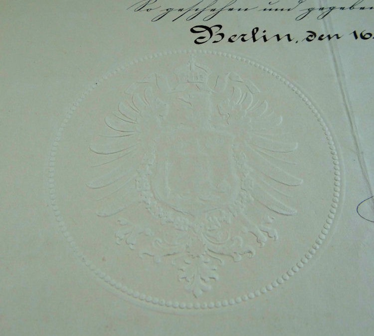 PROMOTION PATENT – OFFICER'S NAVAL  – SIGNED BY KAISER WILHELM I