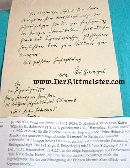 PRUSSIA - AUTOGRAPHED LETTER - PRINZ HEINRICH - Imperial German Military Antiques Sale