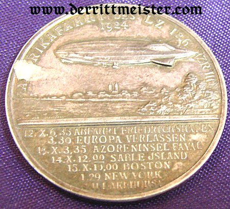 TABLE MEDAL - HUGO ECKNER AND LZ 126 - Imperial German Military Antiques Sale