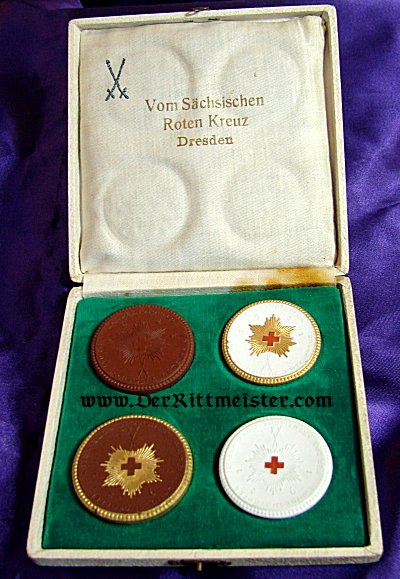 TABLE MEDAL - SAXON RED CROSS - MEISSEN - CASED - Imperial German Military Antiques Sale