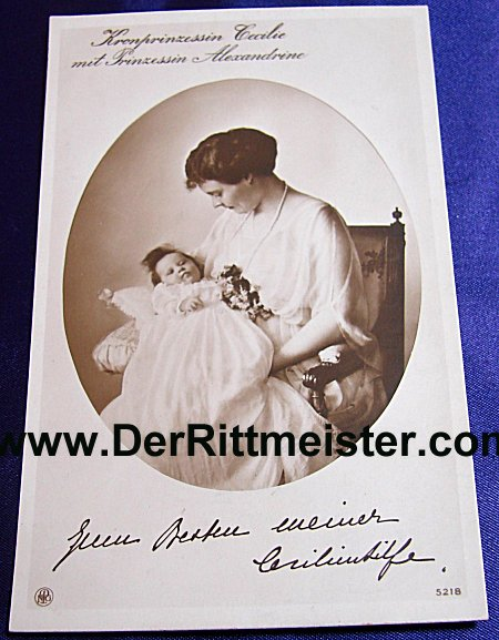 POSTCARD - KRONPRINZESSIN CECILIE - DAUGHTER PRINZESSIN ALEXANDRINE - Imperial German Military Antiques Sale