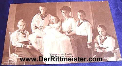 POSTCARD - KRONPRINZESSIN CECILIE - SIX CHILDREN - Imperial German Military Antiques Sale