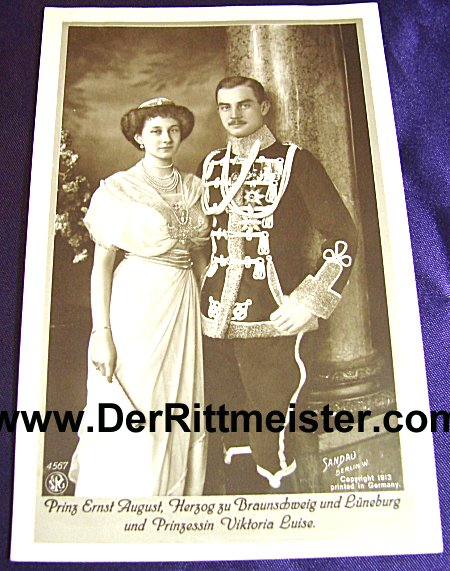 POSTCARD - BRAUNSCHWEIG'S HERZOG ERNST AUGUST - AND WIFE - FORMER PRINZESSIN VIKTORIA LOUISE von PREUßEN - Imperial German Military Antiques Sale