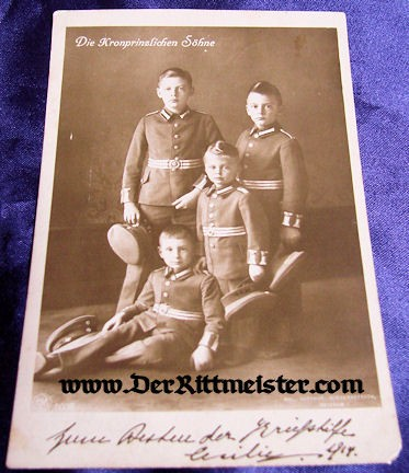 POSTCARD - KRONPRINZ WILHELM'S FOUR SONS - Imperial German Military Antiques Sale