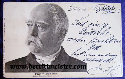 POSTCARD - GERMAN CHANCELLOR FÜRST (PRINCE) OTTO von BISMARCK - Imperial German Military Antiques Sale