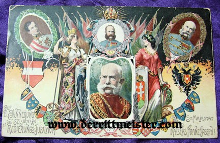COLOR POSTCARD - 60th ANNIVERSARY - KAISER FRANZ-JOSEF - AUSTRIA - Imperial German Military Antiques Sale