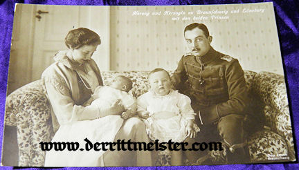 POSTCARD - HERZOG ERNST AUGUST - HERZOGIN VIKTORIA LUISE - TWO OLDEST SONS - BRAUNSCHWEIG - Imperial German Military Antiques Sale