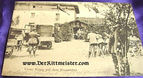 POSTCARD - KÖNIG LUDWIG III BAVARIA EMERGING FROM INN - FRANCE - Imperial German Military Antiques Sale