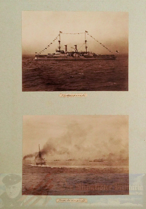PRUSSIA - PHOTO ALBUM - KAISER WILHELM II AND KAISERIN AUGUSTA VIKTORIA ONBOARD VARIOUS NAVY SHIPS INCLUDING S.M.Y. HOHENZOLLERN, S.M.S. KAISER WILHELM II, AND S.M.Y. IDUNA