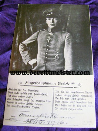 POSTCARD - PLM WINNER HAUPTMANN OSWALD BOELCKE - Imperial German Military Antiques Sale