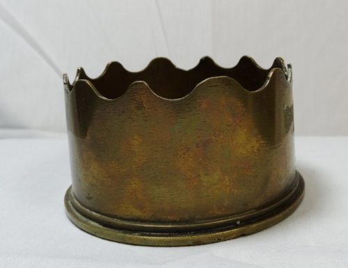 BRITISH EIGHTEEN POUNDER SHELL TRENCH ART ASHTRAY - Imperial German Military Antiques Sale