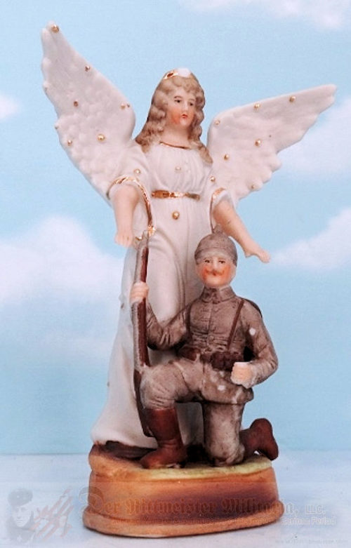 GERMANY - STATUTE - ANGEL PROTECTING GERMAN SOLDIER - Imperial German Military Antiques Sale