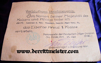 GERMANY - AWARD DOCUMENT - DECORATION - 1914 IRON CROSS 1st CLASS - Imperial German Military Antiques Sale