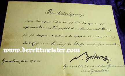 GERMANY - 1914 IRON CROSS 2nd CLASS DOCUMENT & DECORATION - Imperial German Military Antiques Sale