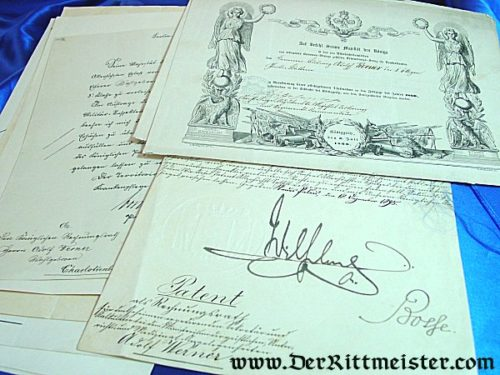 PRUSSIA - DOCUMENT GROUP FOR AN OFFICER SERVING IN GARDE-ARTILLERIE-REGIMENT - Imperial German Military Antiques Sale