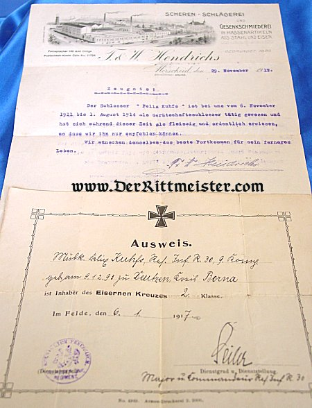 GERMANY- 1914 IRON CROSS 2nd CLASS AWARD DOCUMENT AND POSTWAR LETTER OF RECOMMENDATION - Imperial German Military Antiques Sale