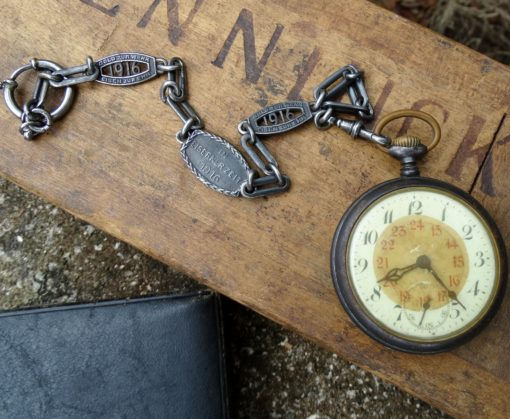 POCKET WATCH WITH PATRIOTIC WATCH CHAIN - PRESENTATION CASE - Imperial German Military Antiques Sale