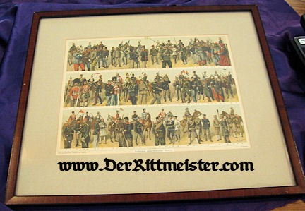 EUROPE - LITHOGRAPH - FRAMED COLOR - ASSORTED UNIFORMS - OTHER NATIONS - BEFORE WW I - Imperial German Military Antiques Sale