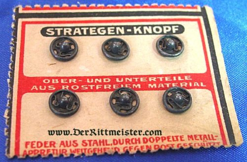 GERMANY - UNIFORM SNAP BUTTONS FOR MILITARY USE ON ORIGINAL SALES CARD - Imperial German Military Antiques Sale