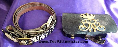 PRUSSIA - BELT AND CARTRIDGE BOX - 1. LEIB-HUSAREN-REGIMENT Nr 1 OR 2. LEIB-HUSAREN-REGIMENT Nr 2 - Imperial German Military Antiques Sale