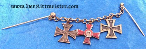 BRAUNSCHWEIG / HAMBURG - MINIATURE - THREE-PLACE TIE BAR CHAIN - Imperial German Military Antiques Sale